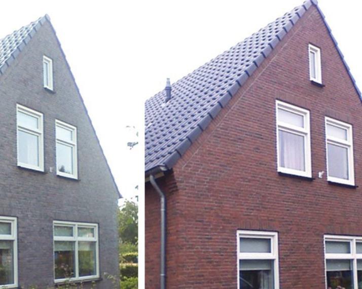 Muren licht opgestraald en geimpregneerd in Rouveen